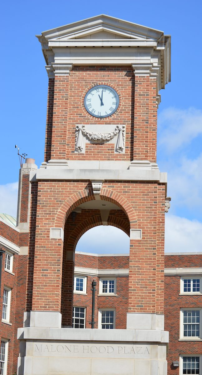 Autherine Lucy Clock Tower in Malone Hood Plaza, University of Alabama