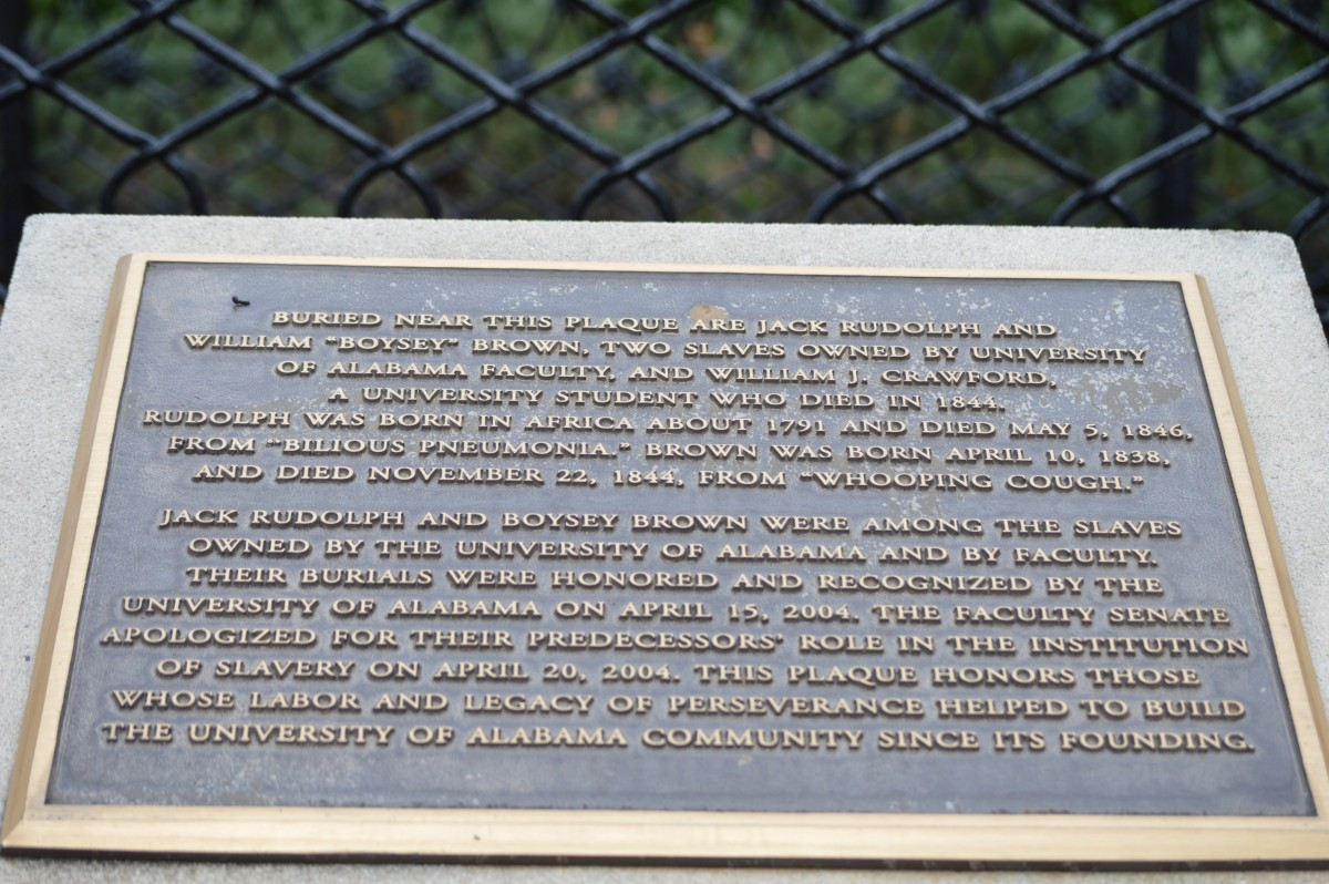 Plaque at Slave Burial Grounds, University of Alabama